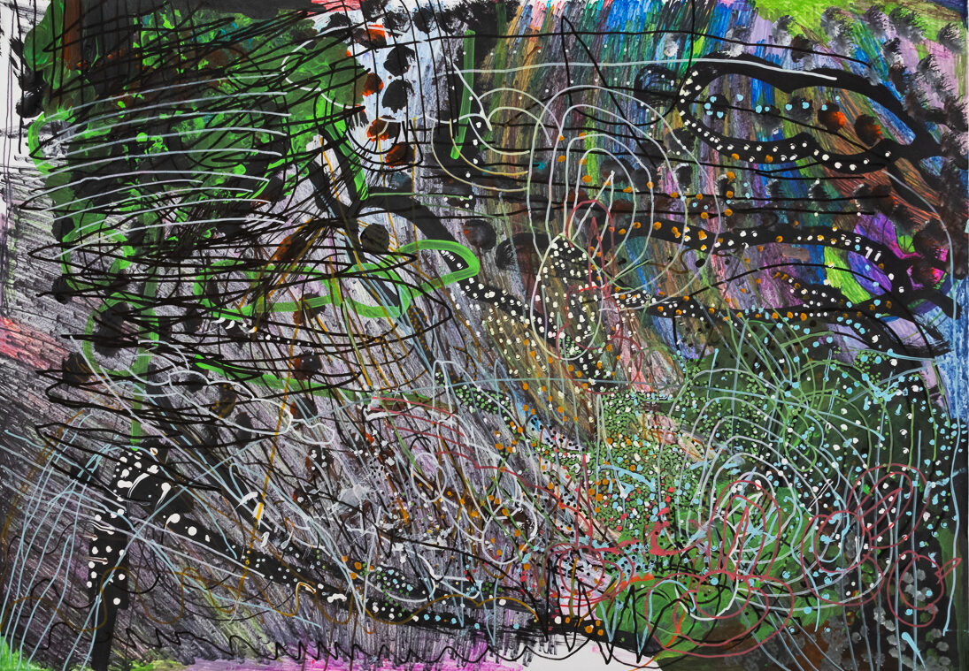 Maureen Clay, Untitled, undated, acrylic and ink on paper, 31.5 x 43.5 in.
